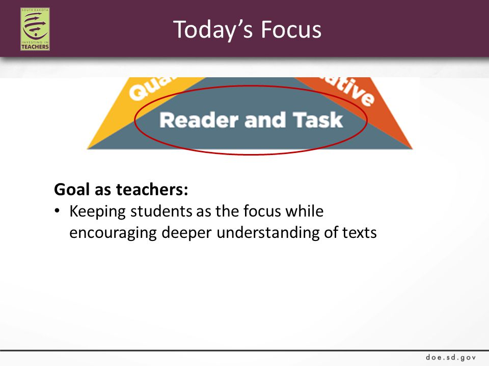 Today's Focus Goal as teachers: Keeping students as the focus while encouraging deeper understanding of texts