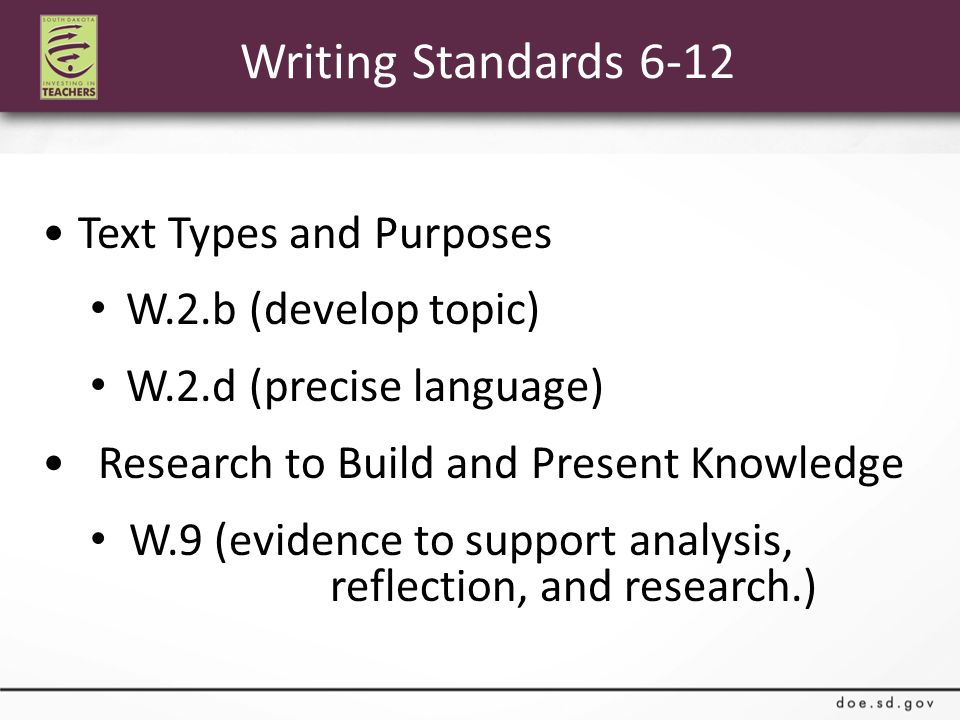 Writing Standards 6-12 Text Types and Purposes W.2.b (develop topic) W.2.d (precise language) Research to Build and Present Knowledge W.9 (evidence to support analysis, reflection, and research.)