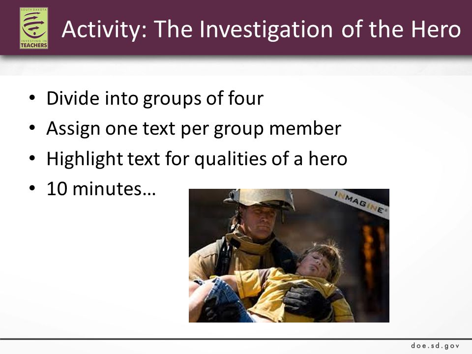 Divide into groups of four Assign one text per group member Highlight text for qualities of a hero 10 minutes… Activity: The Investigation of the Hero