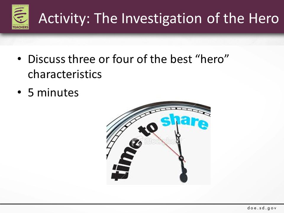 Discuss three or four of the best hero characteristics 5 minutes Activity: The Investigation of the Hero