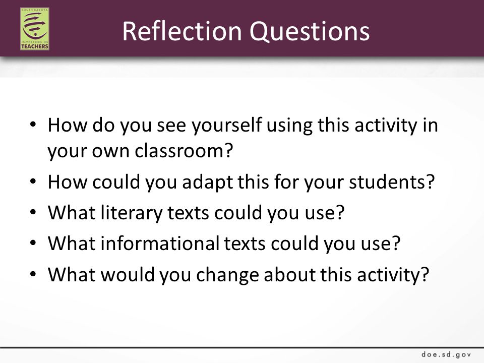 Reflection Questions How do you see yourself using this activity in your own classroom.