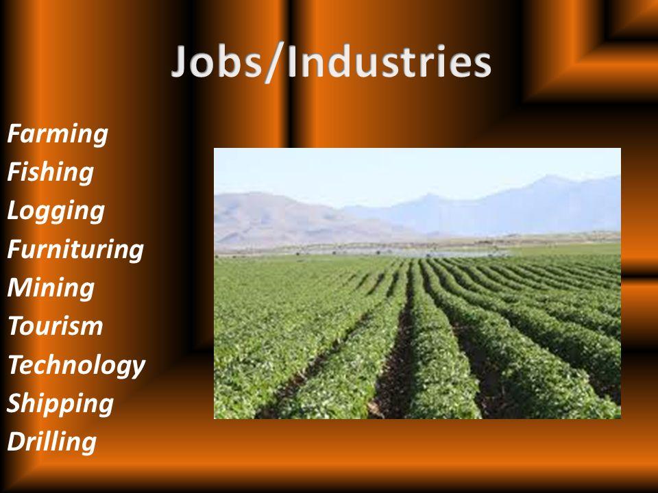 Farming Fishing Logging Furnituring Mining Tourism Technology Shipping Drilling