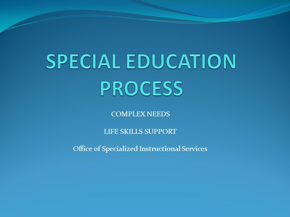 Life Skills- ESY Extended School Year ESY must be considered for all students with disabilities.
