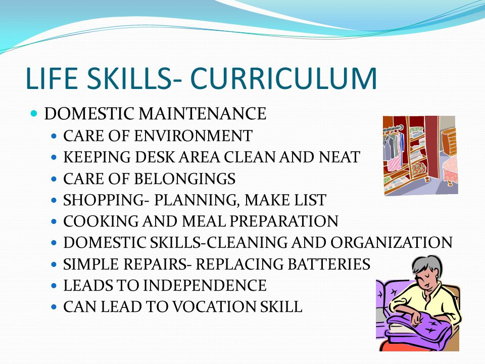 LIFE SKILLS- CURRICULUM DOMESTIC MAINTENANCE CARE OF ENVIRONMENT KEEPING DESK AREA CLEAN AND NEAT CARE OF BELONGINGS SHOPPING- PLANNING, MAKE LIST COO