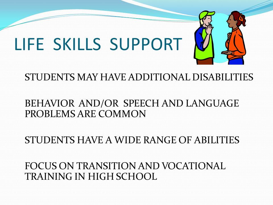 LIFE SKILLS- TRANSITION VOCATIONAL PROGRAMS CAREER AWARENESS BEGINNING IN MIDDLE YEARS STUDENTS LEARN RESPONSIBILITY HIGH SCHOOL 14-17 YEAR OLDS BEGIN AWARENESS OF SPECIFIC JOBS COMMUNITY BASED INSTRUCTION FOCUSES ON CAREER AWARENESS STUDENTS HAVE SCHOOL BASED JOBS 18-21 YEAR OLD STUDENTS RECEIVE TRAINING AS APPROPRIATE FROM VOCATIONAL ITINERENT TEACHERS, MANY AT JOB SITES