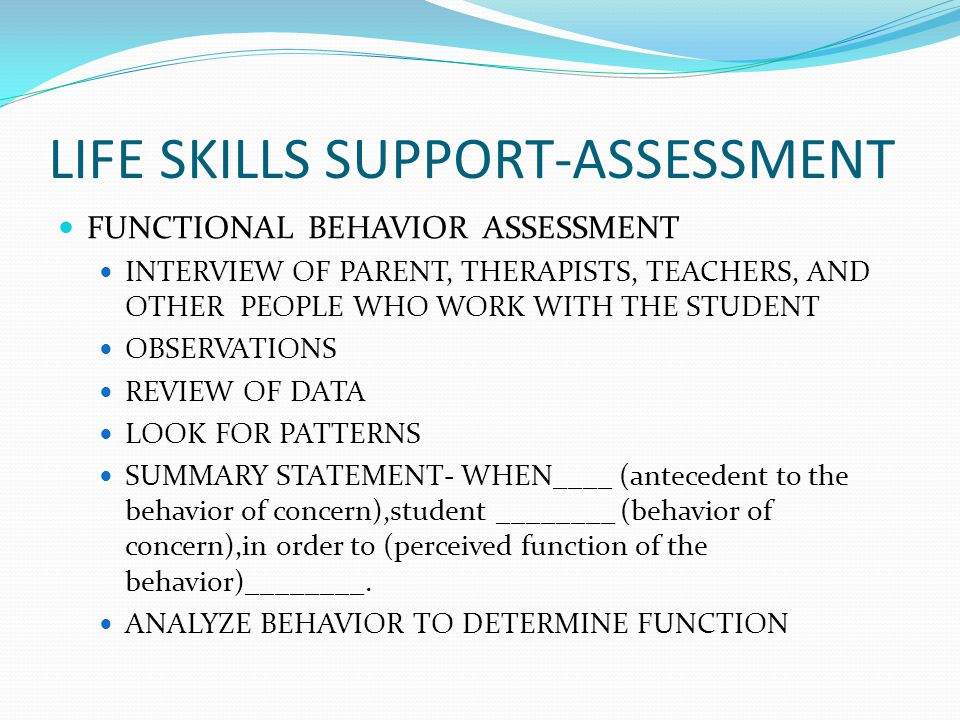 Life Skills Support-Quality Program Checklist QPC-General Program Overview Student folder/binder has iep,norep,data,work samples Emergency procedures posted ALL classroom staff are engaged in student activities Staff knows their assignments Decorations and materials are age appropriate Non-instructional time is limited All students are engaged in meaningful activities