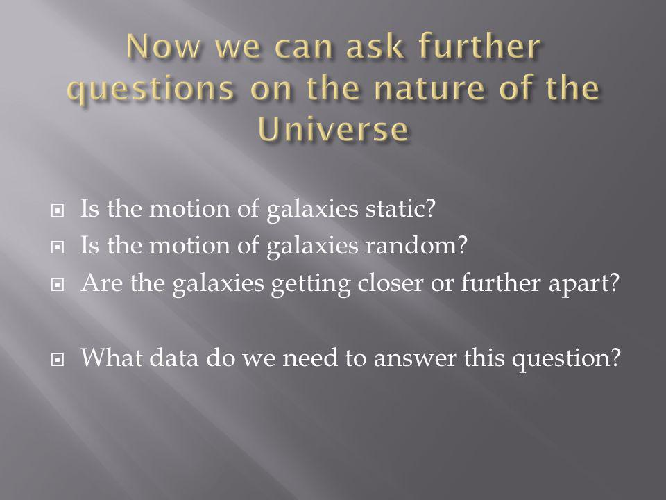  Is the motion of galaxies static.  Is the motion of galaxies random.