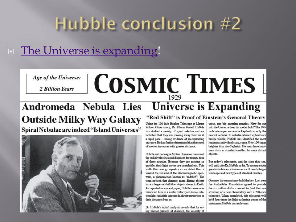 The Universe is expanding! The Universe is expanding