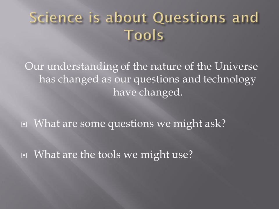 Our understanding of the nature of the Universe has changed as our questions and technology have changed.