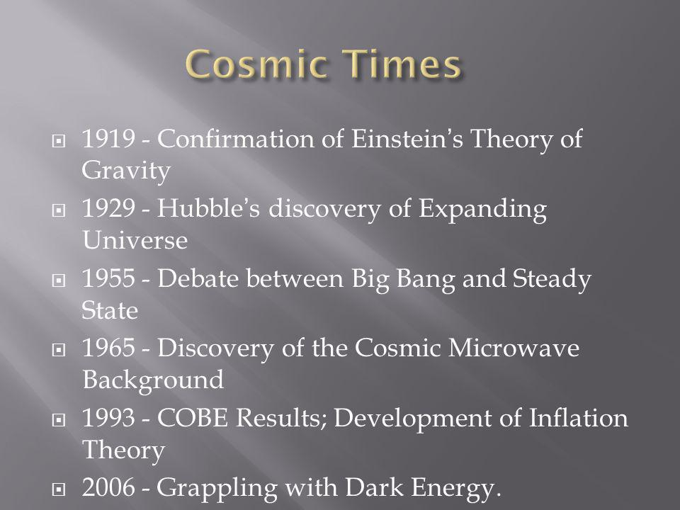  1919 - Confirmation of Einstein's Theory of Gravity  1929 - Hubble's discovery of Expanding Universe  1955 - Debate between Big Bang and Steady State  1965 - Discovery of the Cosmic Microwave Background  1993 - COBE Results; Development of Inflation Theory  2006 - Grappling with Dark Energy.