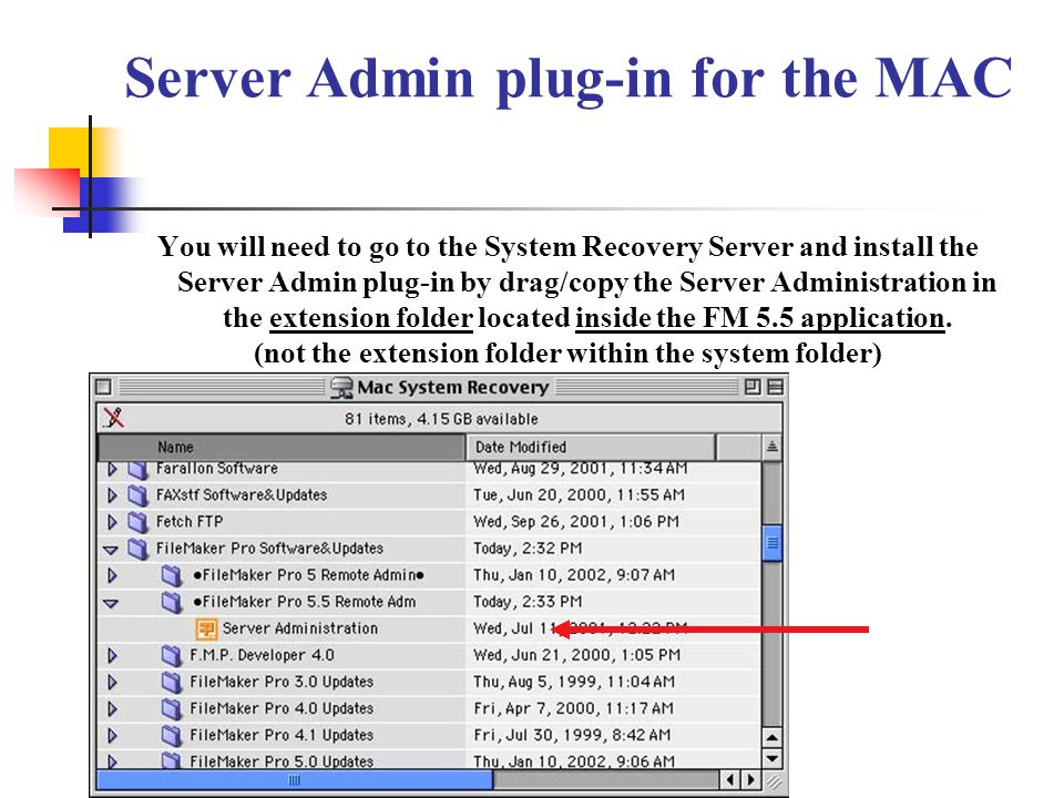 Server Admin plug-in for the MAC You will need to go to the System Recovery Server and install the Server Admin plug-in by drag/copy the Server Admini