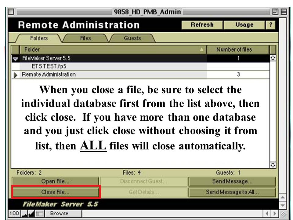 When you close a file, be sure to select the individual database first from the list above, then click close. If you have more than one database and y