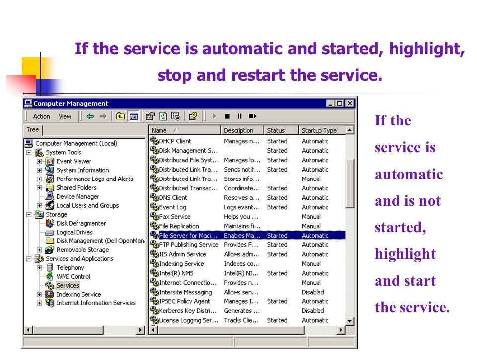 If the service is automatic and is not started, highlight and start the service. If the service is automatic and started, highlight, stop and restart