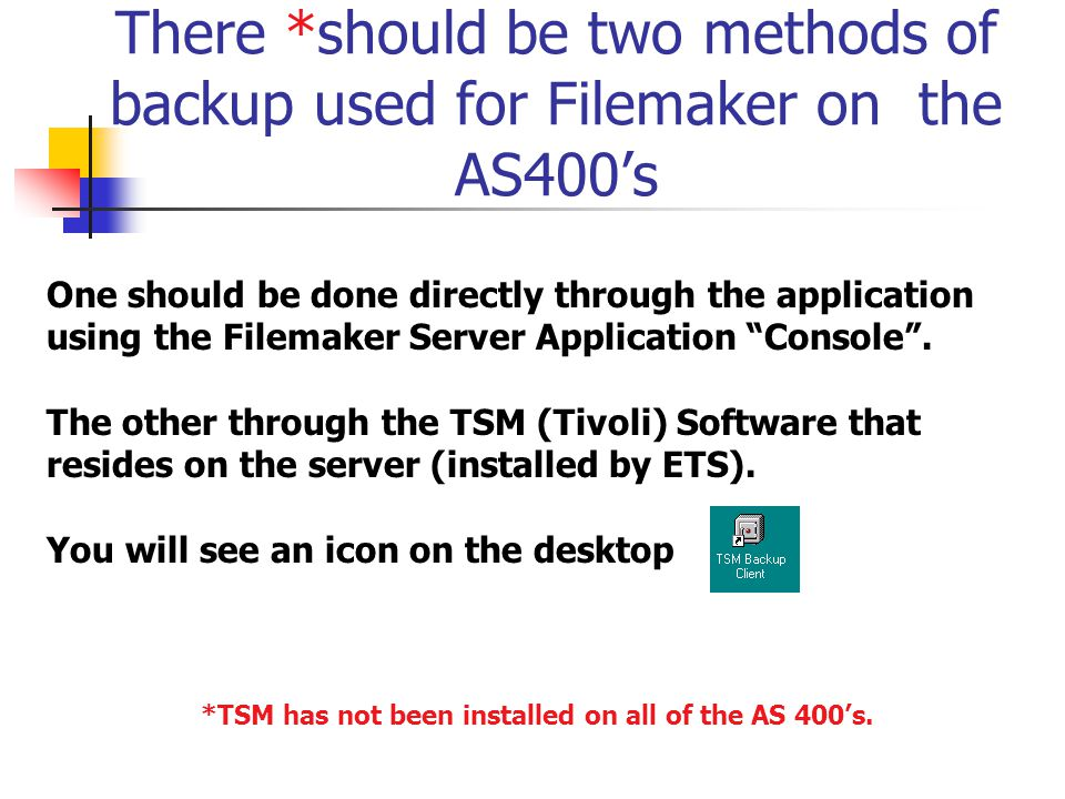 There *should be two methods of backup used for Filemaker on the AS400's One should be done directly through the application using the Filemaker Serve