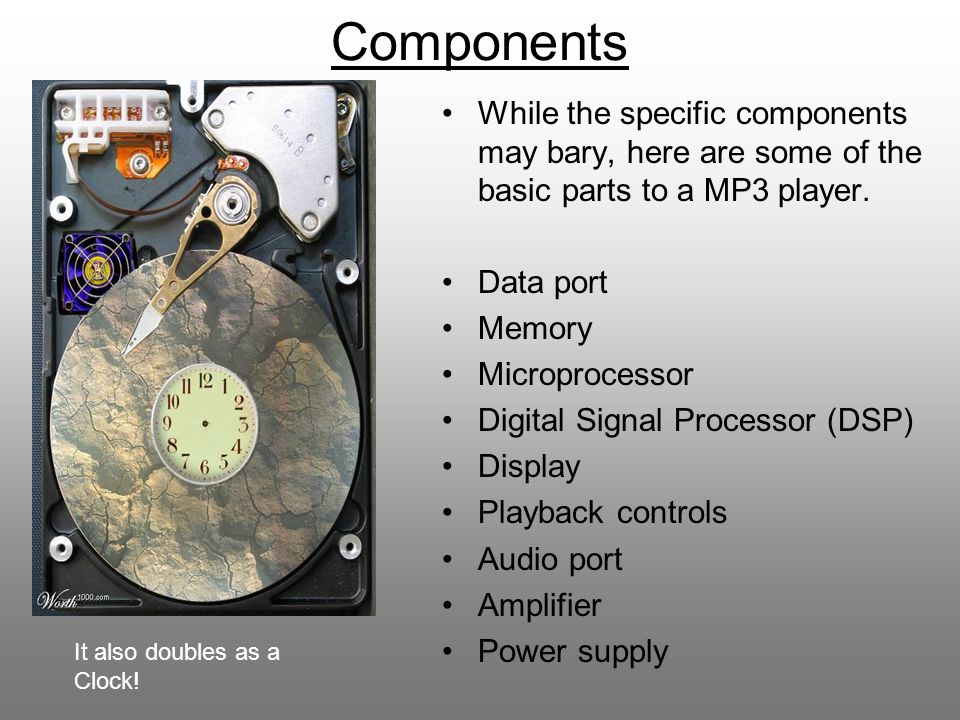 Components While the specific components may bary, here are some of the basic parts to a MP3 player.