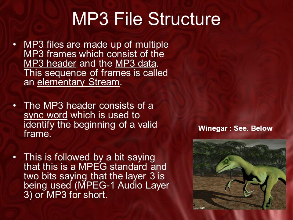 MP3 File Structure MP3 files are made up of multiple MP3 frames which consist of the MP3 header and the MP3 data.