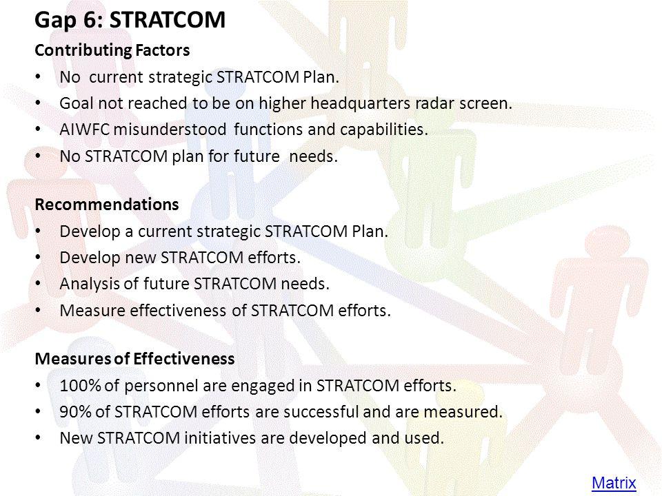 Gap 6: STRATCOM Contributing Factors No current strategic STRATCOM Plan.