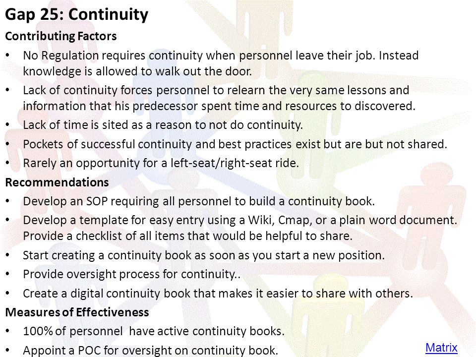 Gap 25: Continuity Contributing Factors No Regulation requires continuity when personnel leave their job.