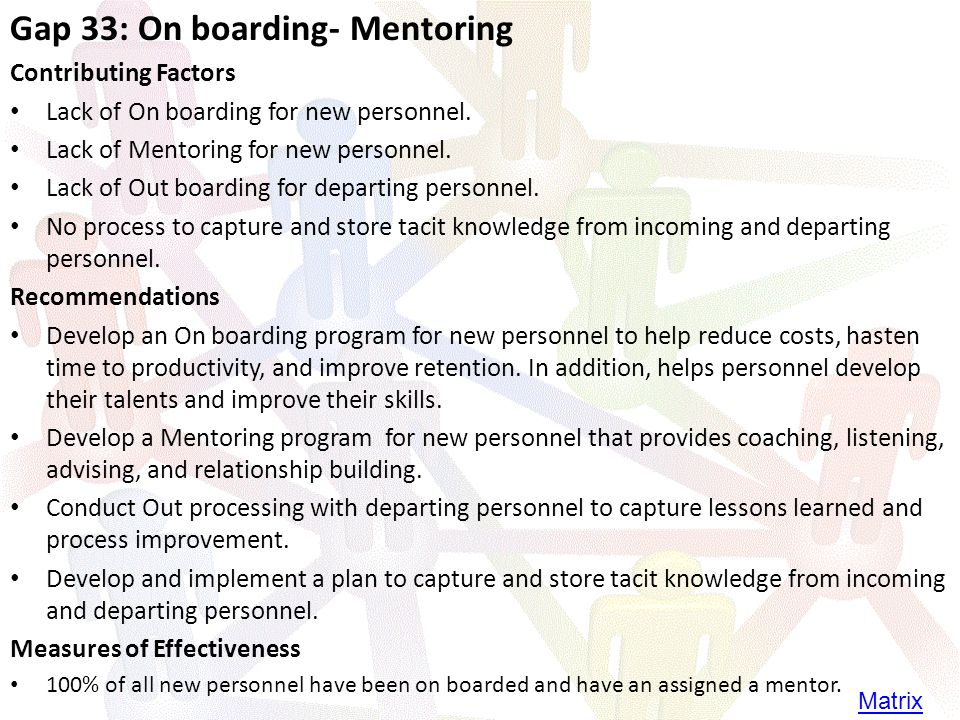 Gap 33: On boarding- Mentoring Contributing Factors Lack of On boarding for new personnel.