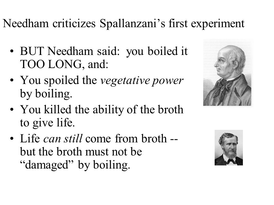Spallanzani's (Italian Naturalist) -- 1745 Disagreed with Needham Claimed he didn't seal jars well enough He said microbes could have come from the air He repeated Needham's experiment, but changed two things: –boiled flasks longer, and –SEALED THEM after boiling by fusing the glass tops shut –(hermetically sealed – absolutely airtight) Result: NO growth in ANY flask