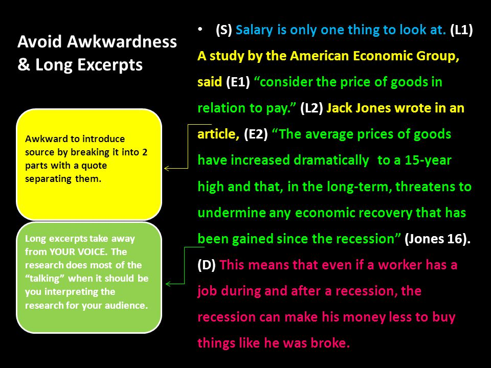 Avoid Awkwardness & Long Excerpts (S) Salary is only one thing to look at.
