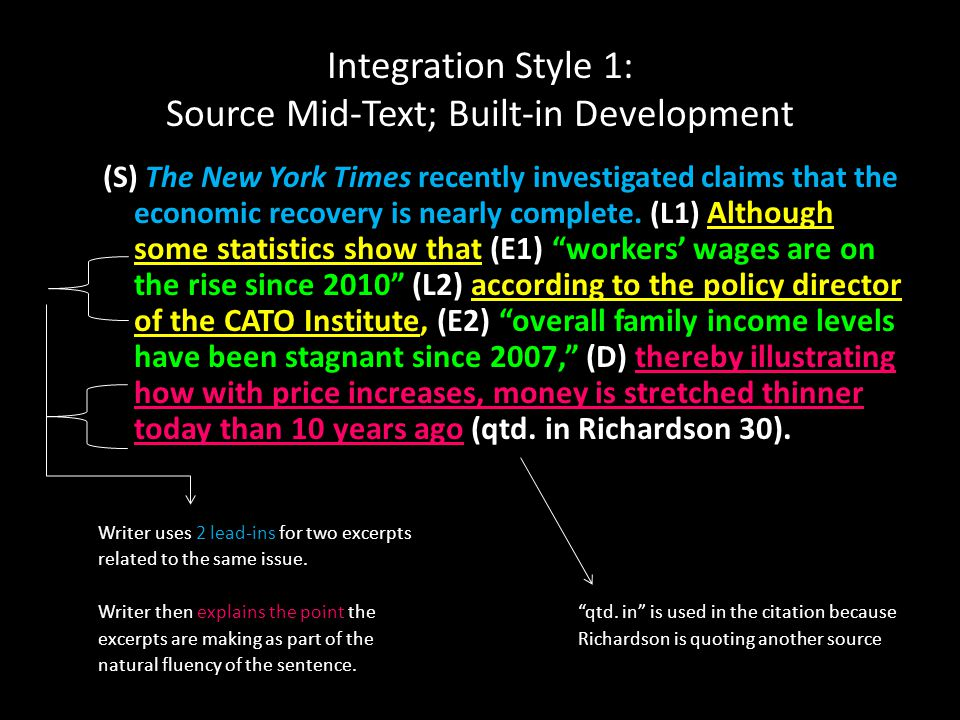 Integration Style 1: Source Mid-Text; Built-in Development (S) The New York Times recently investigated claims that the economic recovery is nearly complete.