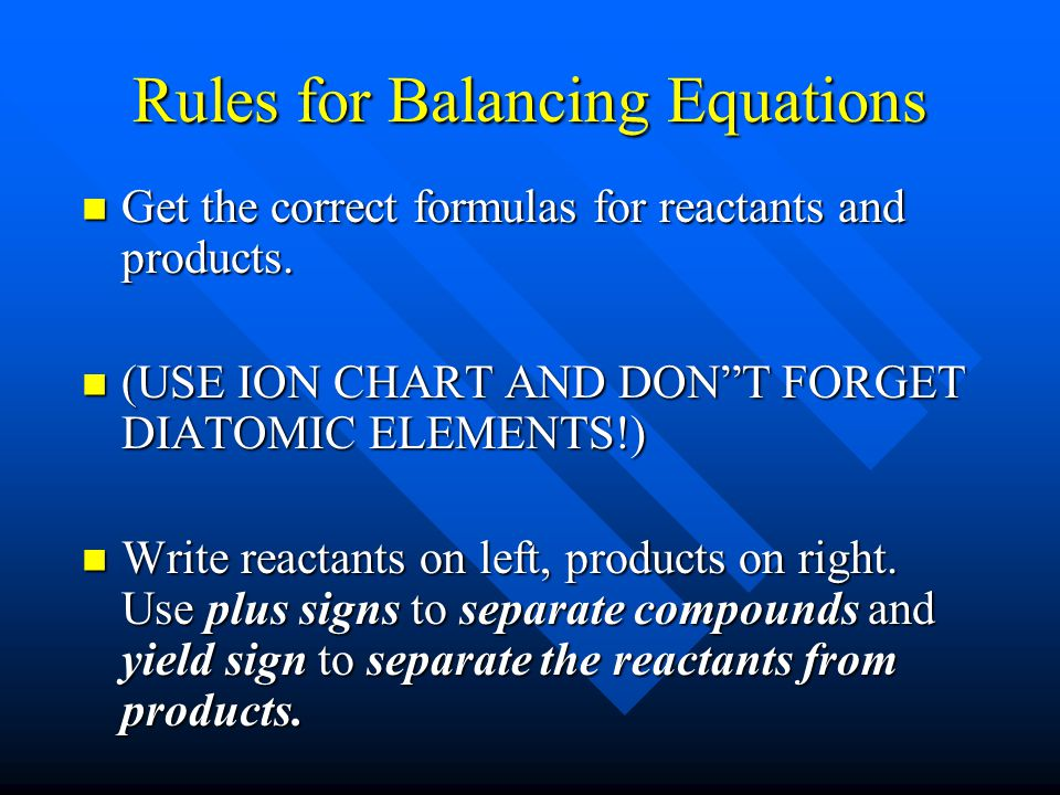 Balancing Chemical Equations Balanced equations have: Balanced equations have: the same # of atoms of each element on BOTH sides of the equation. the