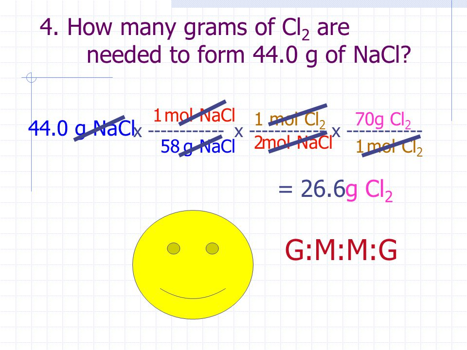 4. How many grams of Cl 2 are needed to form 44.0 g of NaCl? 44.0 g NaCl x ------------ g NaCl mol NaCl 58 1 x ------------ mol NaCl mol Cl 2 2 1 = g
