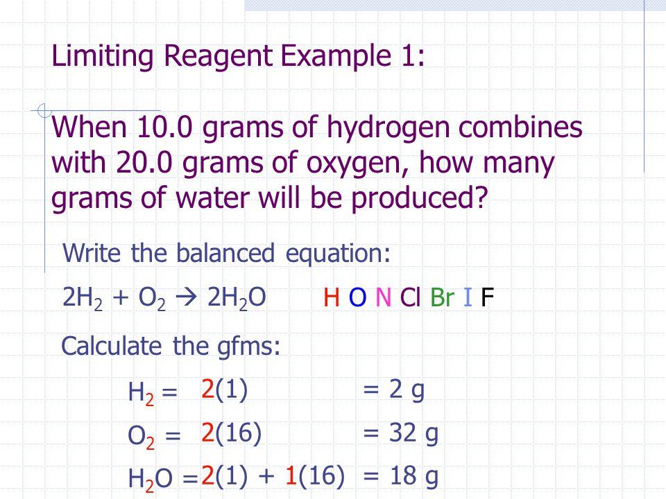 Write the balanced equation: 2H 2 + O 2  2H 2 OH O N Cl Br I F Calculate the gfms: H 2 = O 2 = H 2 O = 2(1) 2(16) 2(1) + 1(16) = 2 g = 32 g = 18 g Li