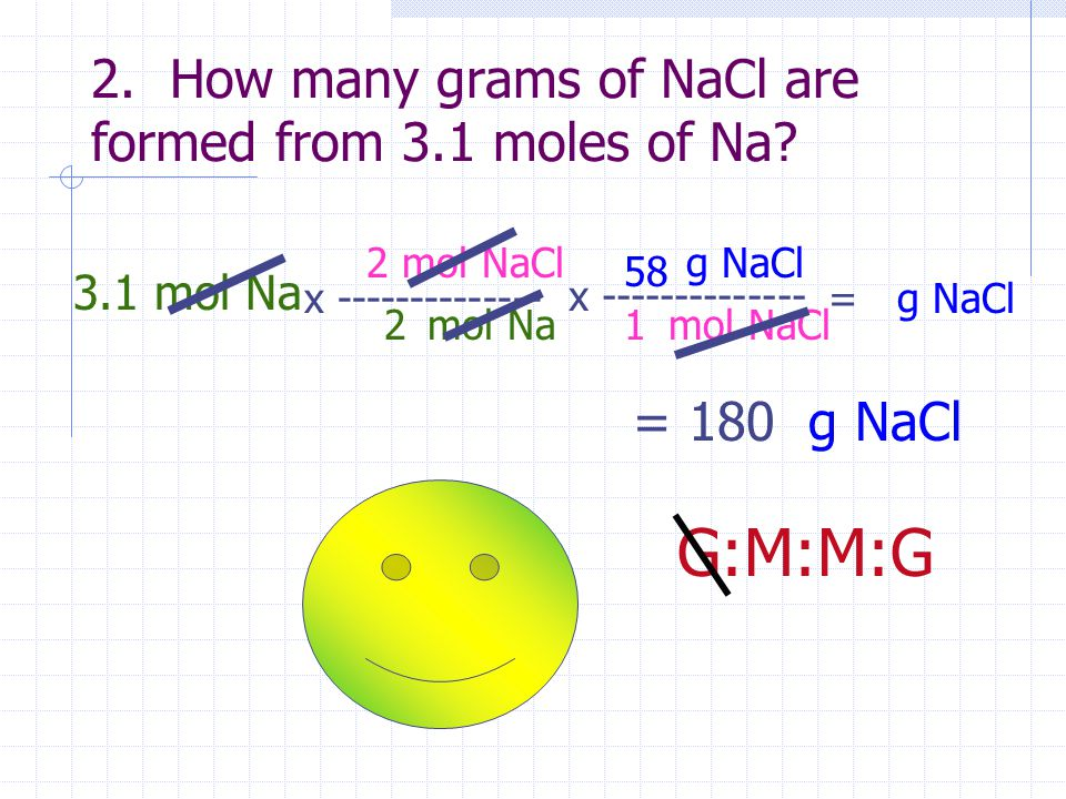 2. How many grams of NaCl are formed from 3.1 moles of Na? 3.1 mol Na x -------------- mol Na mol NaCl 2 2 x -------------- mol NaCl g NaCl 1 58 = g N