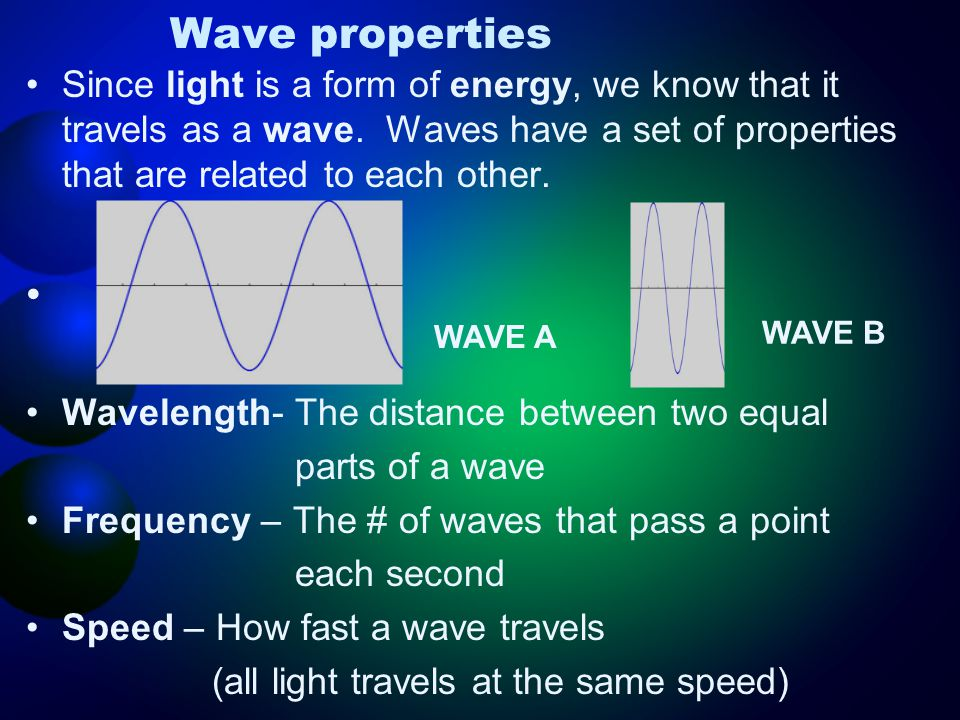 Wave properties Since light is a form of energy, we know that it travels as a wave. Waves have a set of properties that are related to each other. Wav
