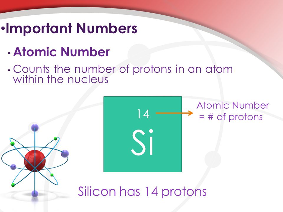 Counts the number of protons in an atom within the nucleus Atomic Number Important Numbers 14 Si Atomic Number = # of protons Silicon has 14 protons