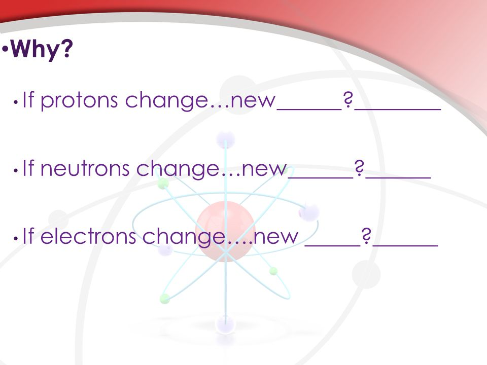 If protons change…new______?________ If neutrons change…new______?______ If electrons change….new _____?______ Why?