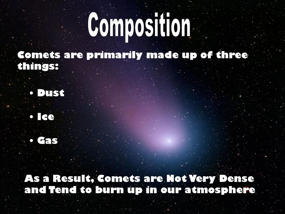 Comets are primarily made up of three things: Dust Ice Gas As a Result, Comets are Not Very Dense and Tend to burn up in our atmosphere
