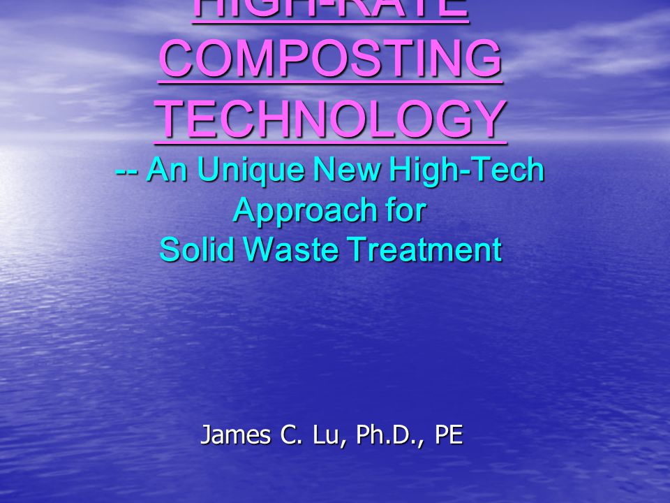 Current Main-Stream Solid Waste Treatment Methods & Their Problems Main-Stream Methods: 1.Sanitary Landfills (for Municipal Solid Wastes (MSW)); Sanitary Landfills & Land Applications (for Municipal Sludge) Sanitary Landfills & Land Applications (for Municipal Sludge) 2.Incineration Problems of the Current Main-Stream Methods: Problems of the Current Main-Stream Methods: 1.Not a complete waste reduction, detoxification and recycling method 2.Generate serious secondary pollution problems (such as air pollution, water pollution, toxic substances pollution, pathogen contamination, land pollution, odor problems, etc.) land pollution, odor problems, etc.) 3.Loss of valuable land 4.Large waste quantity generated, Difficulty of finding treatment sites
