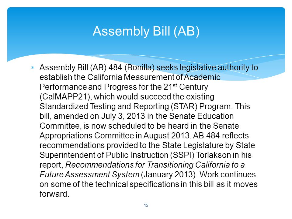  Assembly Bill (AB) 484 (Bonilla) seeks legislative authority to establish the California Measurement of Academic Performance and Progress for the 21