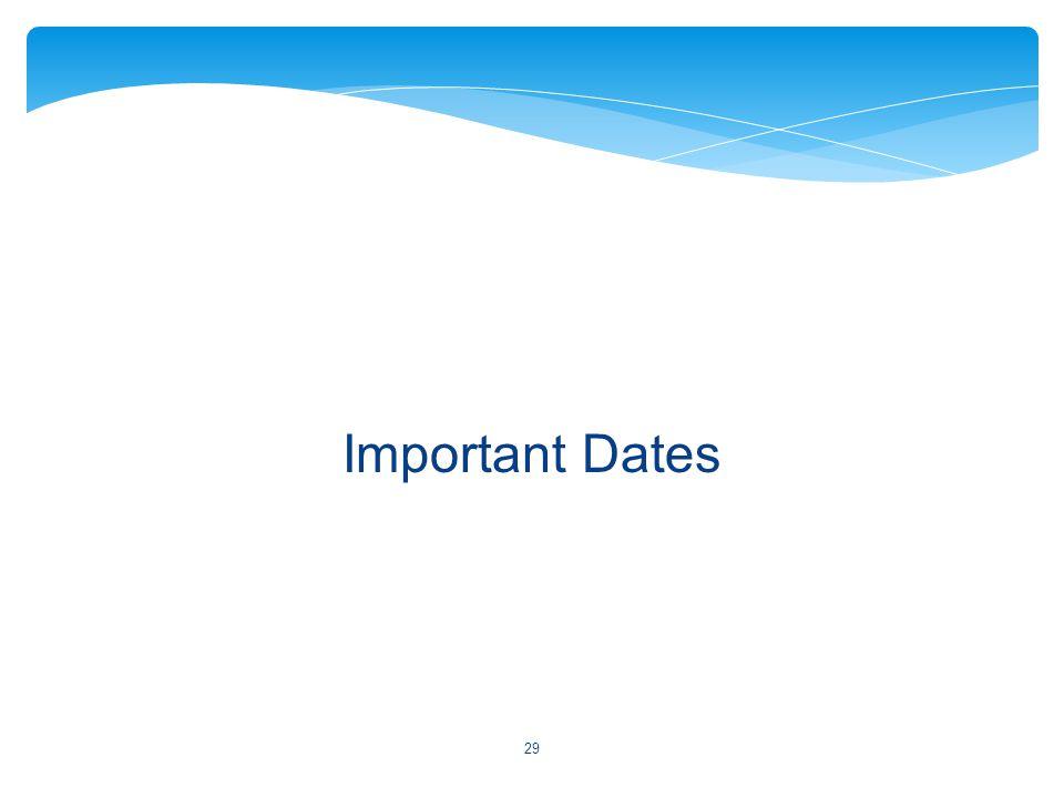 Important Dates 29
