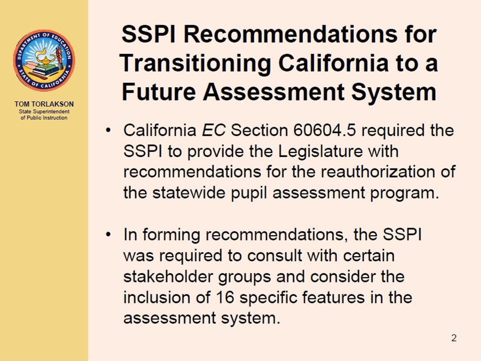  With the State Board of Education's (SBE) recent approval of the California Department of Education's (CDE) recommendation regarding Assembly Bill 1521, the Standards-based Tests in Spanish (STS) will be made available to school districts and independently testing charter schools for students who are enrolled in a dual-language immersion program and who are either nonlimited English proficient or have been redesignated fluent English proficient.
