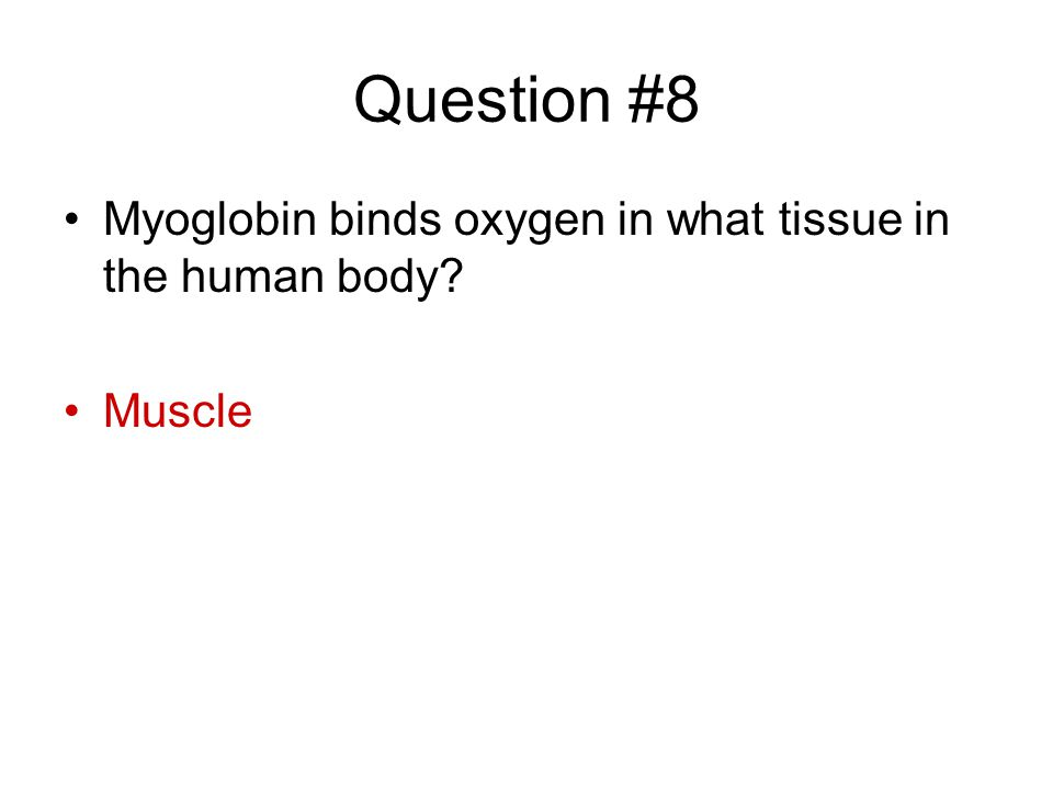 Question #8 Myoglobin binds oxygen in what tissue in the human body? Muscle