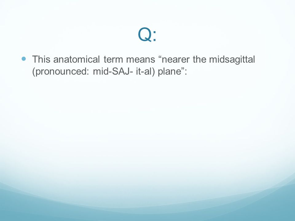 Q: This anatomical term means nearer the midsagittal (pronounced: mid-SAJ- it-al) plane :