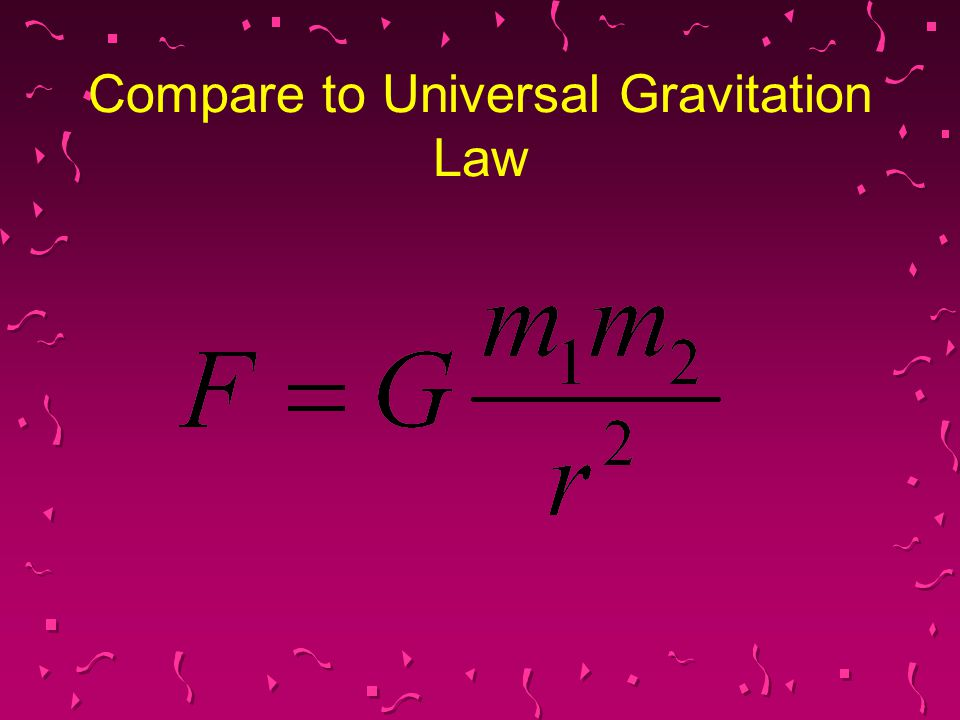 Compare to Universal Gravitation Law
