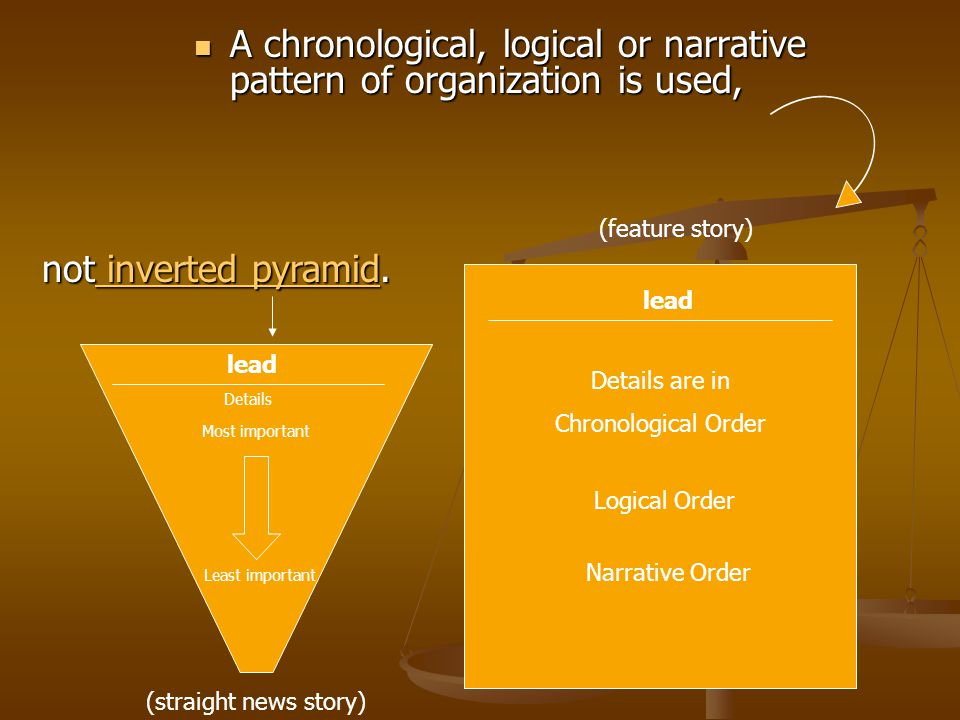 A chronological, logical or narrative pattern of organization is used, A chronological, logical or narrative pattern of organization is used, lead Details (straight news story) lead Details are in Chronological Order not inverted pyramid.