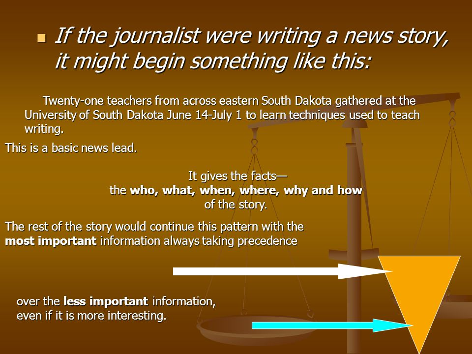 If a journalist were writing about the Dakota Writing Project, from which this activity came, there would be two basic ways to do it.