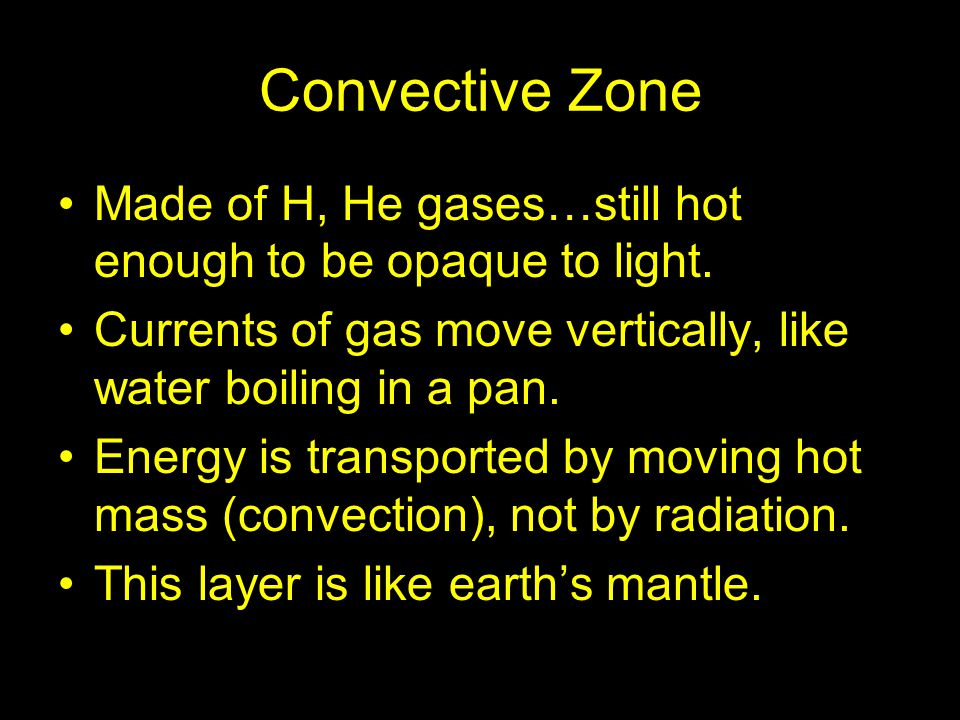 Convective Zone Made of H, He gases…still hot enough to be opaque to light. Currents of gas move vertically, like water boiling in a pan. Energy is tr