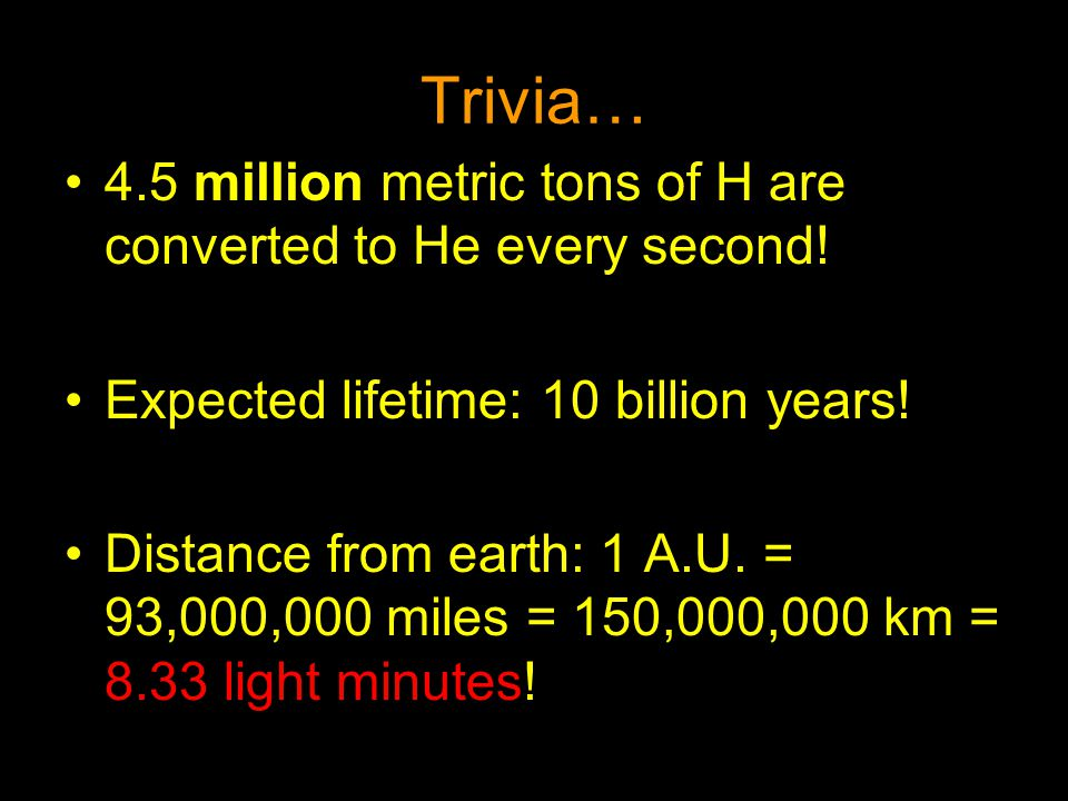 Trivia… 4.5 million metric tons of H are converted to He every second! Expected lifetime: 10 billion years! Distance from earth: 1 A.U. = 93,000,000 m