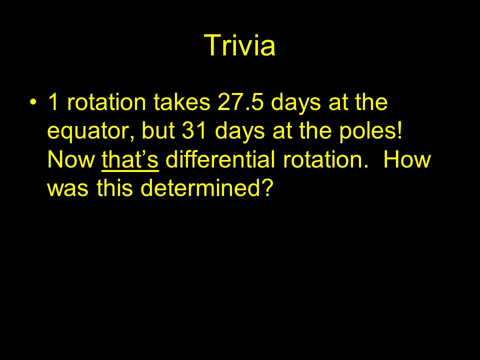 Trivia 1 rotation takes 27.5 days at the equator, but 31 days at the poles! Now that's differential rotation. How was this determined?