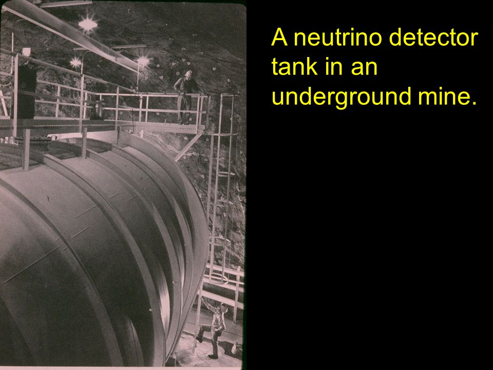 A neutrino detector tank in an underground mine.