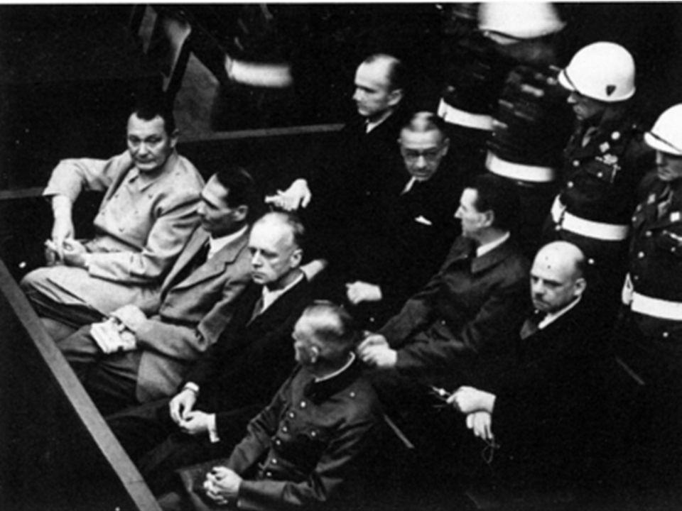 Oct. 1 - last day - judges announced verdicts - 12 given death: Goring, von Ribbentrop, Keitel, Kaltenbrunner, Rosenberg, Franck, Frick, Streicher, Sa