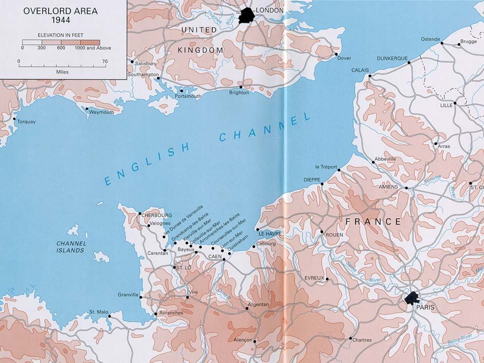 GENERAL EISENHOWER Allied Forces under GEN DWIGHT EISENHOWER land at NORMANDY on 6/6/44- aka D-DAY