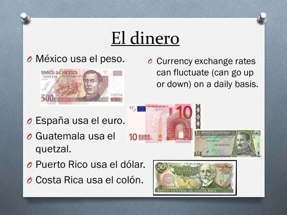 El dinero O México usa el peso. O España usa el euro.